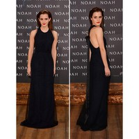 Emma Watson Elegant Floor-length Round-neck Sleeveless Tulle and Satin Celebrity Dress