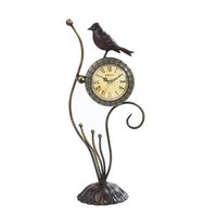 Maple's Clocks FL28750 Bird Metal D?cor Table Tabletop Clock  - Decor Universe