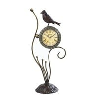 Maple&#x27;s Clocks FL28750 Bird Metal D?cor Table Tabletop Clock  - Decor Universe
