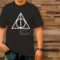Sale Deathly Hallows Harry Potter black T-Shirt by yupylup