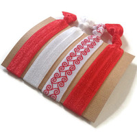 Elastic Hair Ties Red and White Swirl Yoga Hair Bands
