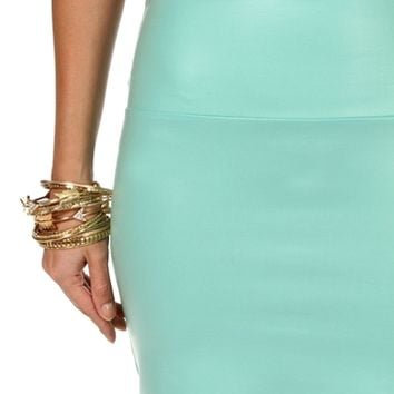 Mint Faux Leather Mini Skirt