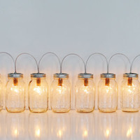 Mason Jar Lamp BANNER Style Lighting Fixture With 8 Clear Quart Jars - Upcycled Rustic Outdoor Wedding String Of Lights - BootsNGus Lamps