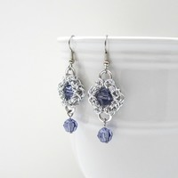 Tanzanite crystal Byzantine chainmaille earrings