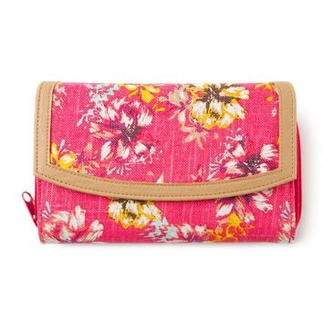 Tropical Flowers Large Linen Zip Around Wallet | Icing