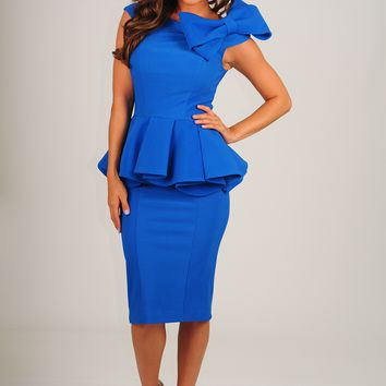 Darling At The Derby Dress: Royal Blue