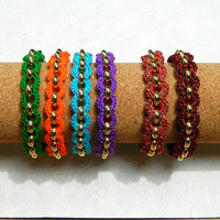 Boho gypsy colorful crochet and gold tone chain bright summer girls bracelet