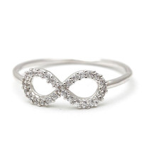 infinity ring, cz in silver
