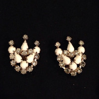 Vintage Rhinestone Milk Glass Earrings Crown Costume Jewelry Prom Party