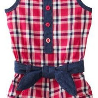 Carters Baby-Girls Infant Plaid Romper With Denim Belt