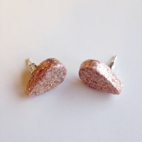 Teardrop Stud Earrings {Gold Glitter, Polymer Clay}