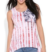 sharkbite american flag tank top with lace back and sides