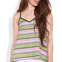 Chiffon Trapeze Tank with Tribal Print and Solid Trim
