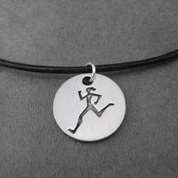 Pewter Round RUNNER GIRL Pendant on Leather and Sterling Silver Chain - Pewter pendant on Leather and Sterling Chain