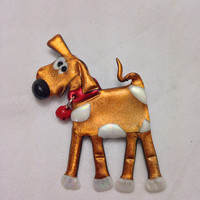 Copper Dog Pin made from friendly plastic - White spotted puppy Pin with Red Collar and bell