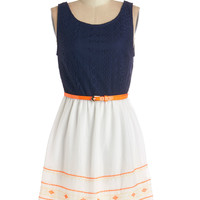 ModCloth Sleeveless A-line Mix with an Orange Twist Dress