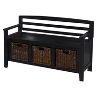 Entryway Bench with Drawers and Baskets - Black