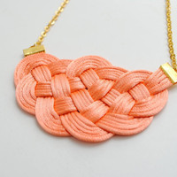 Big Knot Necklace Satin Cords Salmon and Gold by elfinadesign