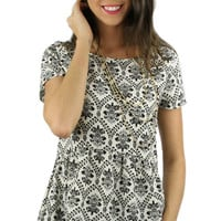 Short Sleeve Drop Waist Peplum Damask Top - Black/White