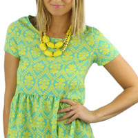 Short Sleeve Drop Waist Peplum Damask Top - Neon Yellow/Green