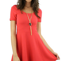 Short Sleeve Textured Skater Dress - Bright Pink
