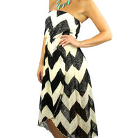Strapless Chevron Tulip Midi Dress - Black/Beige