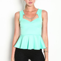SWEETHEART GLAM PEPLUM TOP