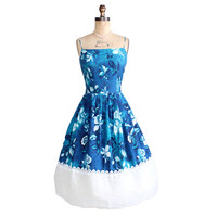Vintage 1950s Blue Hawaii Floral Sundress