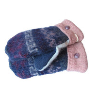 Recycled Wool Sweater Mittens by SWEATY MITTS Upcycled Women's Gift Handmade in Wisconsin Blue Pink Purple Navy Mohair Wool Angora
