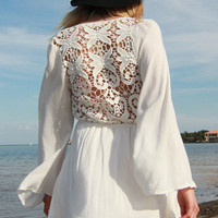Reverse Crochet Back Bell Sleeve Dress in White | Sweetrebelboutique.com | Sweet Rebel