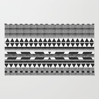 DG Aztec No.1 Monotone Area & Throw Rug by Dawn Gardner