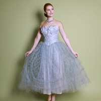 50s Tulle Cupcake PROM DRESS / Pale Blue Atomic Swirl Strapless Gown, s