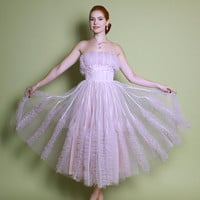 50s Pale Pink Tulle Cupcake PROM DRESS / Iridescent SEQUINS Strapless Gown, xs