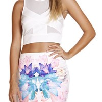 White Asymmetrical Bodycon Mini Skirt w/ Floral Print