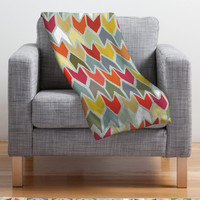 Red & Orange Ikat Chevron Blanket | something special every day