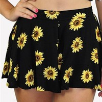 Black Shorts/ Skort w/ Yellow Floral Print