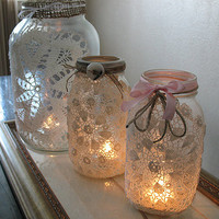 Make a Set of Romantic Lacy Luminaries  Curbly | DIY Design Community  translation missing: es, keywords: Holiday, luminaries, Candles, doilies