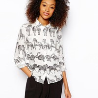Monki | Monki Walking Animal Print Shirt at ASOS