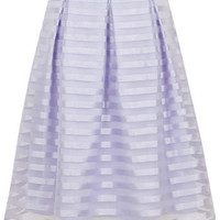 Lilac Stripe Midi Skirt