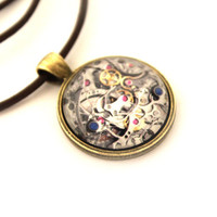 Steampunk jewelry Watch movement necklace Clockwork pendant  Gothic style
