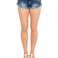 Dark Wash Fringed Shorts