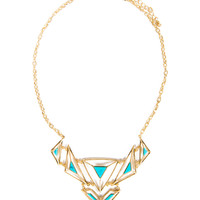 Outlined Triangles Turquoise Necklace