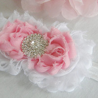 White Pink Chiffon Cluster Flower Headband Flower Rhinestone Accessory Choose Your Size Or Clip