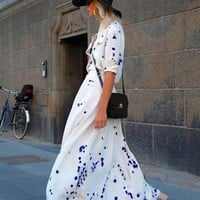 White Short Sleeve Shirt Dress w/ Blue Splattered Polka Dots