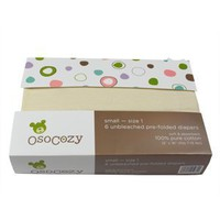 OsoCozy Unbleached Prefold Cloth Diapers - 6 Pack