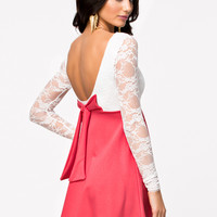 LACE LOW BACK BOW SKATER DRESS