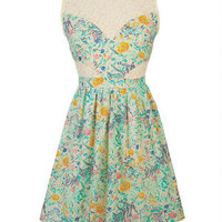 Floral Print Lace Inset Dress