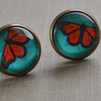 Butterfly Earrings, Aqua and Orange, Antiqued Brass, Monarch Butterfly, Glass Earrings, Stud Post Earrings