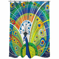 "Walmart: Thumbprintz Peacock Face in Blue Shower Curtain, 71"" x 74"""