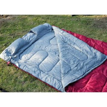 "Outsunny 86"" x 59"" Two-Person Double Wide Sleeping Bag - Red / Gray"